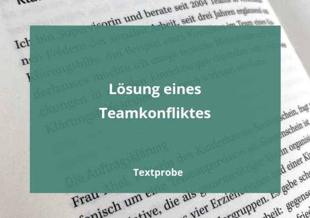 Textprobe Lösung eines Teamkonfliktes